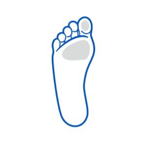 ikona miejsc występowania modzeli na stopach