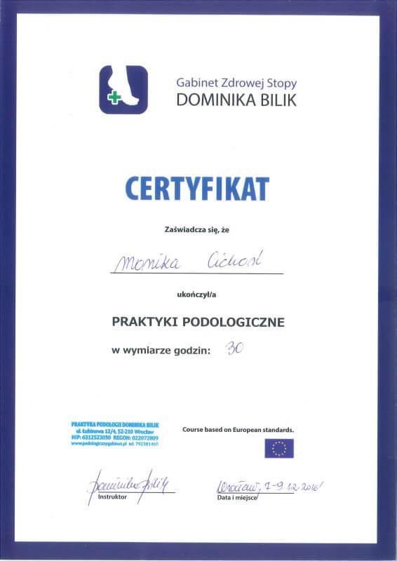 certyfikat ukończenia praktyk podologicznych przez Monikę Cichoń