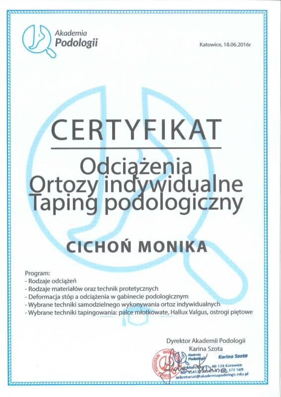 certyfikat ukończenia szkolenia z ortoz indywidualnych Monika Cichoń