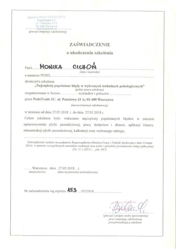 zaświadczenie ukończenia szkolenia podologicznego Monika Cichoń