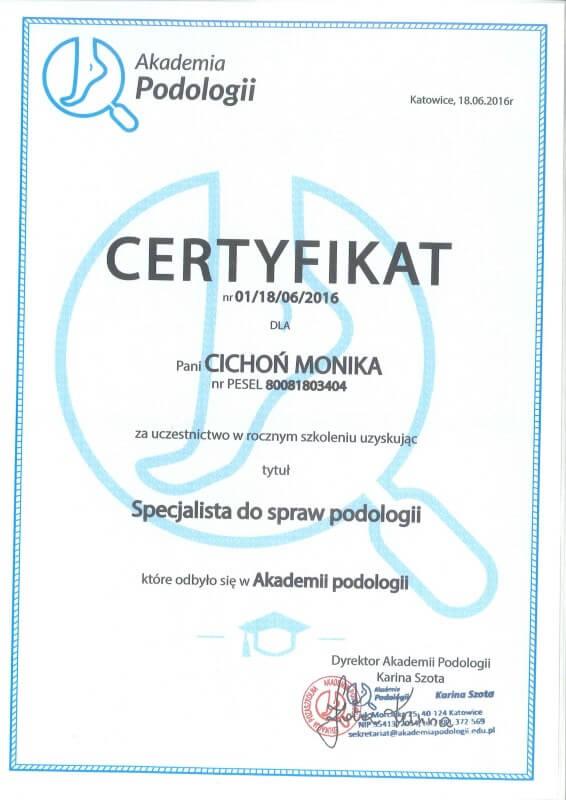 """certyfikat Monika Cichoń uzyskała tytuł """"Specjalista do spraw podologii"""""""