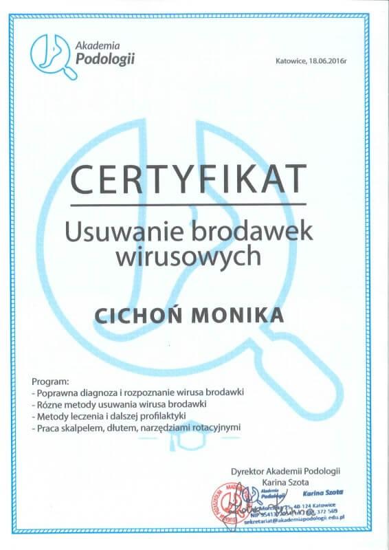 certyfikat ze szkolenia z usuwania brodawek wirusowych Monika Cichoń