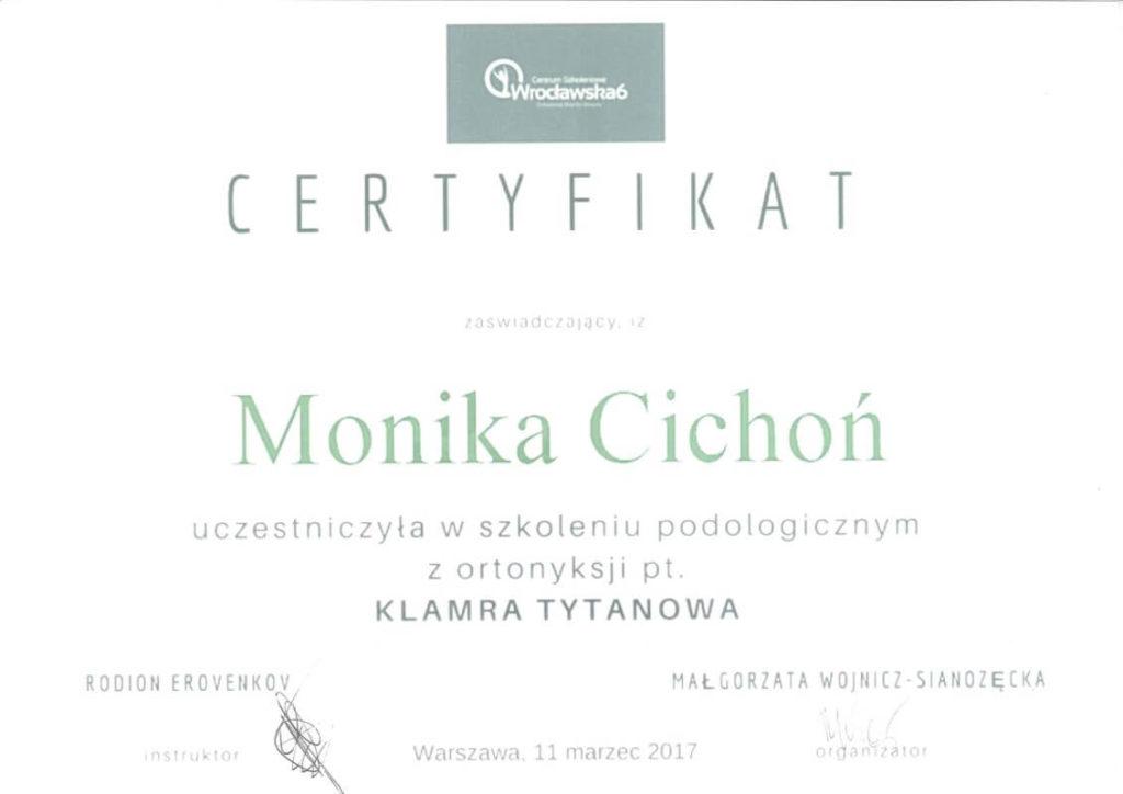 certyfikat ze szkolenia podologicznego klamra tytanowa Monika Cichoń