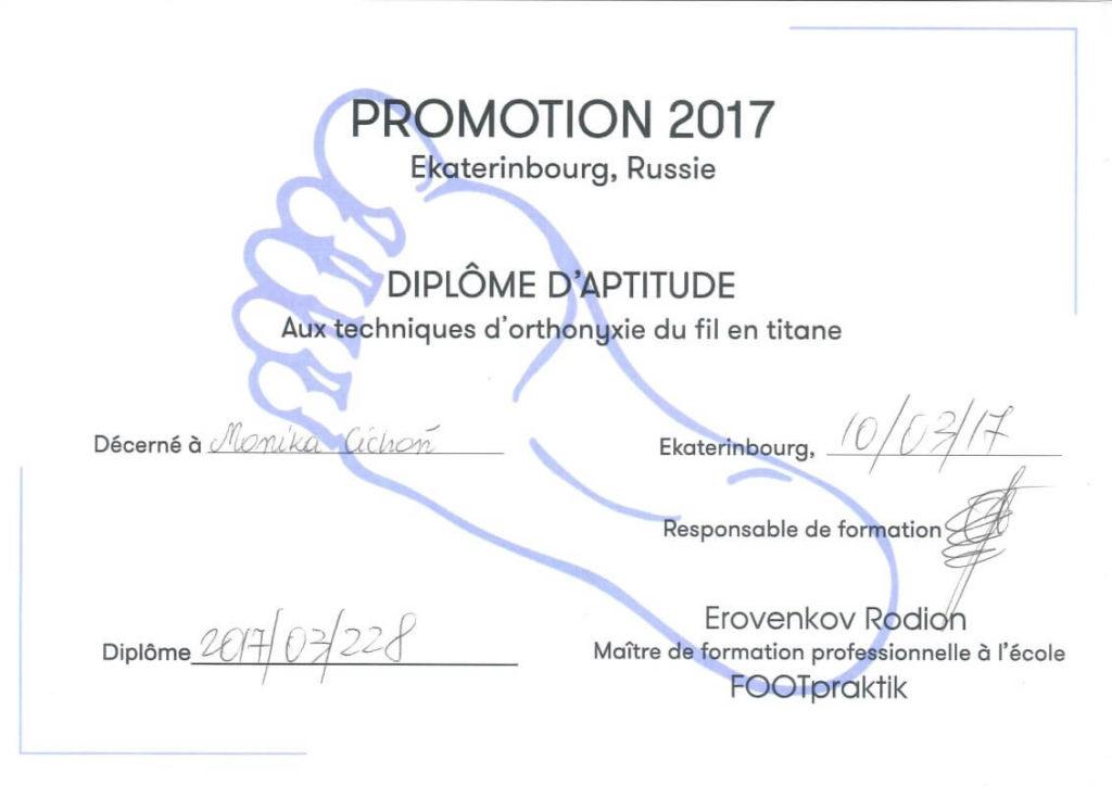 certyfikat Monika Cichoń
