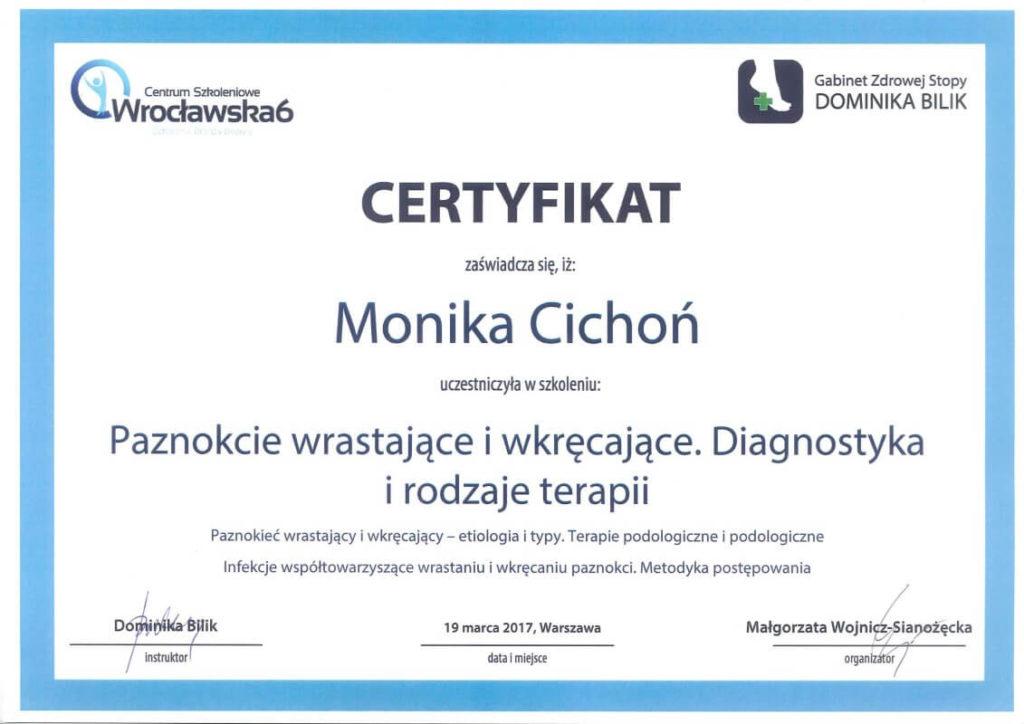 certyfikat ze szkolenia o wrastających i wkręcających paznokciach Monika Cichoń