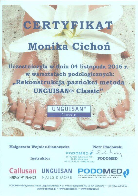 certyfikat ukończenia szkolenia z rekonstrukcji paznokci Monika Cichoń