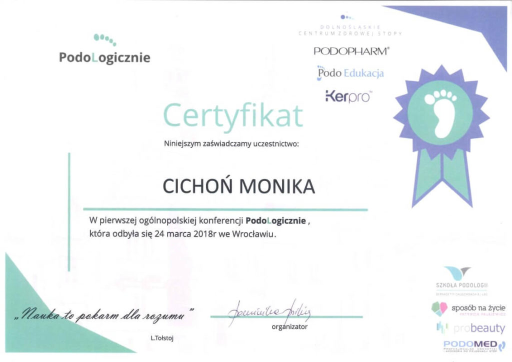 certyfikat udziału w konferencji podologicznej Monika Cichoń